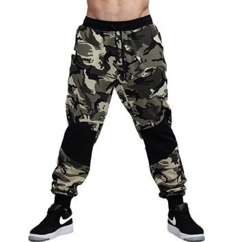 Camouflage Knee Patched Jogger Pants