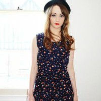 Navy Drawstring Dress with White & Orange Hearts