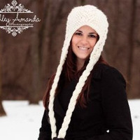Earflap Hat Cream Cabled Corded Womens Braided Beanie With Ties