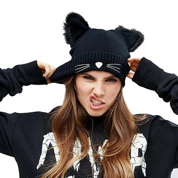 Women Winter Harajuku Woolen Knitting Beanie Devil Horns Cat Ear Crochet Braided Knitted Fur Cap Noverlty Girls Hat