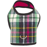 Pink and Green Plaid Flannel Dog Cat Vest Harness