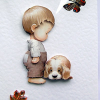We're Sorry - Hand-Crafted 3D Decoupage Card - Blank for any Occasion (1479)