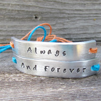Always And Forever Set of 2 Couples Bracelet Friendship His and Hers Best Friends Custom Hand Stamped Name Tie On Hemp Cord