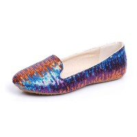 ZLCY Peacock Sequin Loafers for Women