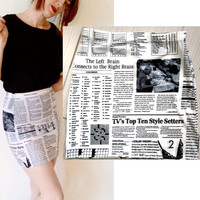 Newspaper Print Bandage Skirt