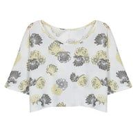 Yellow Floral Print Wrap Back Crop T-shirt