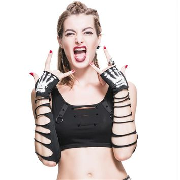 Punk Women Gloves Gothic Hole Arm Sleeve Ripped