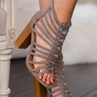 Shape of You Cage Cut Out Sandals (Grey)