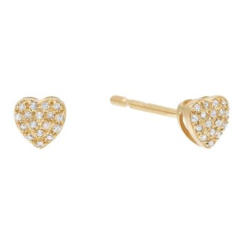 Mini Diamond Heart Studs 14KT