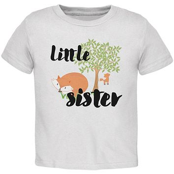 Little Sister Cute Fox Woodland Nature Toddler T Shirt