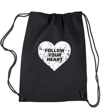 Follow Your Heart Drawstring Backpack