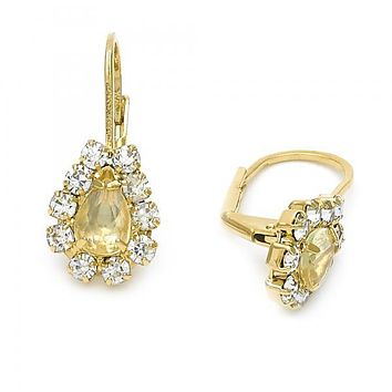 Gold Layered Leverback Earring, Teardrop Design, with Cubic Zirconia, Golden Tone