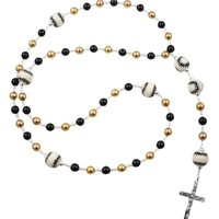 Baseball Rosary with Swarovski Pearls in Black and Gold for First Communion, Baptism Boys and Girls