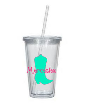 Personalized Cowboy Boot Cowgirl /Southern/Acrylic Tumbler Personalized Cup