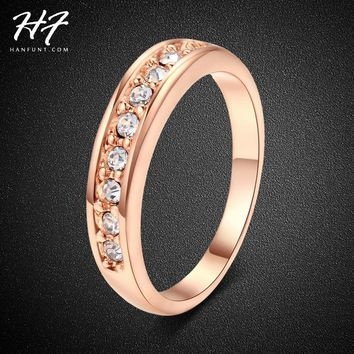 Classic 18K Rose Gold Plated Crystal Wedding Ring anel TOP Class 9 pcs Rhinestones Studded Jewelry Ring For Women bijoux R062