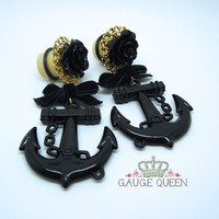 "Organic Wood Dangle Plugs / Gauges. Black Rose and Anchor Velvet Bow. 2g / 6mm, 0g / 8mm, 00g / 10mm, 1/2"" / 12mm, 9/16"" / 14mm, 5/8"" / 16mm"