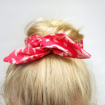 Fabric Bun Wrap, Pink on Pink Floral Fabric, Wire Hair Accessory for Buns Pony Tails or Braids, Teen-Girl-Woman