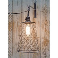 Hanging Lamp, Chicken Wire with Light Fixture