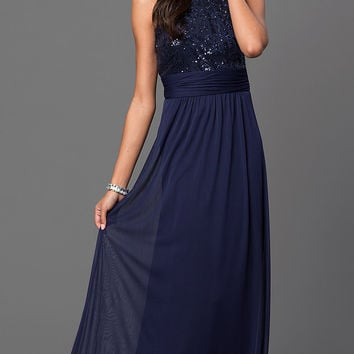 Navy Blue Floor Length Sleeveless Dress with Sequin Top by Marina