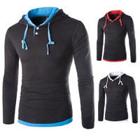 New Color Contrast Long Sleeve Tee with Hood