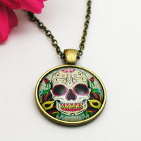 Sugar Skull Necklace - Skull Charm - Bronze Sugar Skull - Sugar Skull Jewelry - Gothic Necklace - Fantasy Necklace - Sugar Skull Jewellery