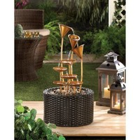 Metallic Lily Outdoor Water Fountain Garden Decor