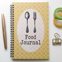 Writing journal, spiral notebook, bullet journal, cute notebook, diary, sketchbook, food diary, blank lined or grid paper - Food journal