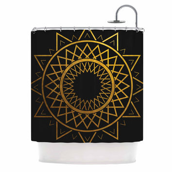 "Matt Eklund ""Gilded Sundial"" Gold Black Shower Curtain"
