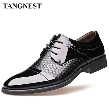 Tangnest Men Shoes For Spring New 2017 Man Fashion Patchwork PU Leather Flats Man Wedding Dress Shoes Size 39-44 XMP614