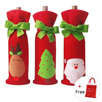 4 PCS Christmas Gift Bags Santa Reindeer Christmas Tree Wine Bottle Covers for Dress up Wine Bottle Party Decorations with a Merry Christmas Gift Bags Xmas Ornaments
