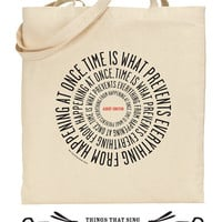 Organic Eo Cotton Tote Bag Einstein Time by ThingsThatSing