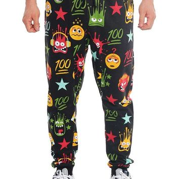WTFLOL Emoji Print French Terry Jogger Pants JG722 - I4D