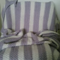 Purple and White Striped Blanket