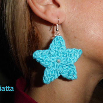 Star Earrings Crochet Bead Dangling Jewelry Handmade Beadwork Niatta
