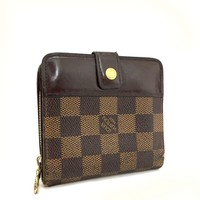 100% Authentic Louis Vuitton Damier Compact Zip Bifold Wallet /g354