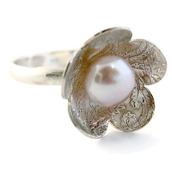 Silver Pearl Ring, Sterling Silver Lace Ring, Flower silver ring,Floral Silver Ring,Silver Cocktail Ring