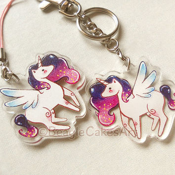 Unicorn Keychain. Cute Unicorn Acrylic Charm. Phone Strap. Kawaii Phone Charm. Princess Pony Keychain. Kawaii Dust Plug. Anime Keychain.