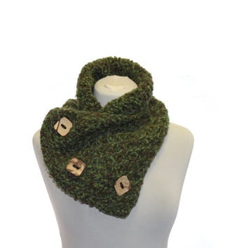 Chunky Knit Cowl Scarf with Tree Coconut Buttons - Green Brown, Knit scarf, Winter fashion
