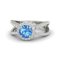 Round Blue Topaz Palladium Ring with Diamond & White Sapphire