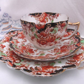 Art Nouveau Mayer & Sherratt tea cup, saucer and plate - tea trio - hand painted.