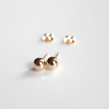 Solid gold Earrings, 14kt gold stud earring, ball stud earrings, jewelry, piercing jewelry