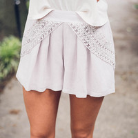 Morning Delight Lavender Crochet Shorts