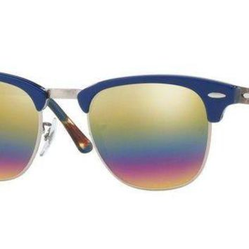 Kalete Ray Ban Clubmaster Sunglasses - RB3016 1223C4 49 - Blue w/ Rainbow Flash Mirror