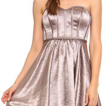 Teeze Me | Strapless Vintage Satin Crepe Corset Party Dress | Taupe