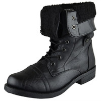 Womens Mid Calf Boots Fold Over Cuff Fur Lined Lace Up Combat Shoes Black SZ