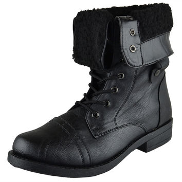 Shop Fold Over Combat Boots on Wanelo