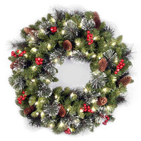 National Tree Company 24-Inch Crestwood Spruce Pre-Lit Christmas Wreath