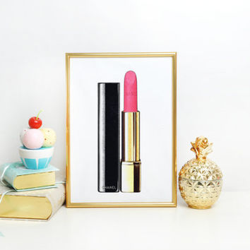 PINK LIPSTICK Makeup Print Lipstick Print Chanel Print Makeup Painting Glam Room Fashion Painting Fashion Print Chanel Lipstick Wall art