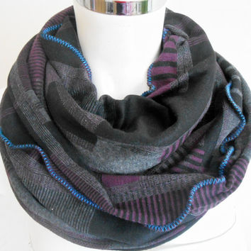 Men Infinity Scarf, Men Scarf Moher, Black Grey Plum Scarf, Color Men's Scarf, Black Grey Scarf, Striped Infinity Scarf, Checkered Scarf Men
