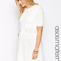 ASOS Maternity | ASOS Maternity Knitted Skater Dress With Double Layer And Crochet Detail at ASOS